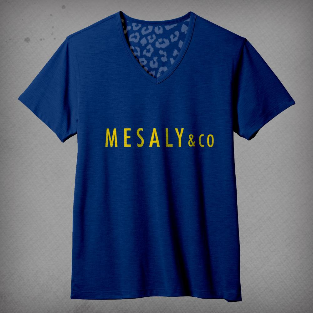 V-Neck T-Shirt Navy & Yellow